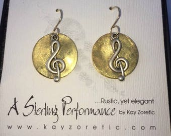 Music Themed Earrings with Treble Clef - Gold Plated