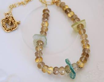 Roman Glass Necklace Ancient Greek Jewelry Gold Filled Gemstones Smokey Quartz Ancient Glass Artisan Glass Jewelry