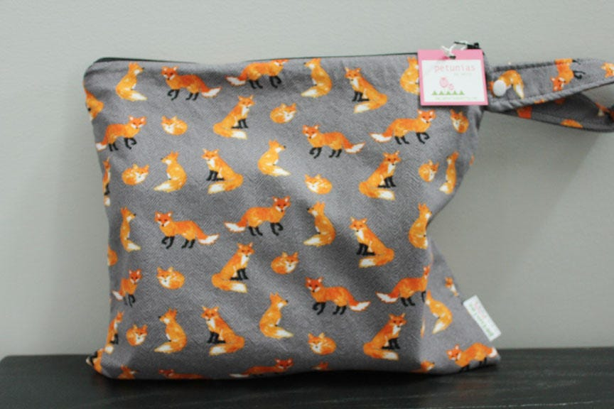 Wet Bag Wetbag Diaper ICKY Proof Grey Fox Gym Swim Cloth Accessories Zipper Gift Newborn Baby Kids Beach