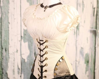 Waist 39-41 Ivory Faux Leather Wench Corset with Hipster Patch