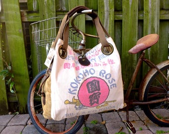 Kokuho Rose Rice Sack - Dos altos California - Open Tote - Americana OOAK Canvas & Leather Tote... Selina Vaughan Studios