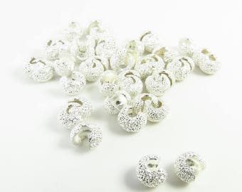 Summer Sale 4mm Silver Stardust Crimp Covers - Lead and Nickel Free - 100 crimps - 2013