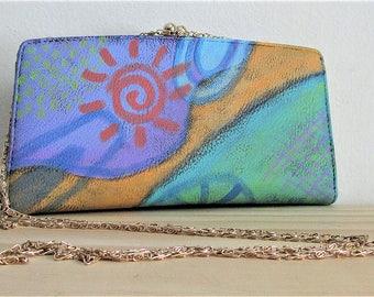 Colorful Hand Painted Abstract Art Clutch Bag Purse Handbag