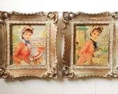 Paire de Vintage Strevens gravures encadrées, Lady Vintage coup de pinceau texturé tirages