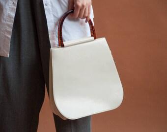white leather purse / top handle purse / white bag / 1643a