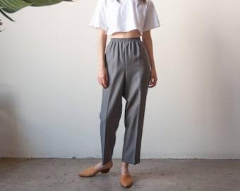 gray woven lounge trousers / elastic waist pants / baggy pants / s / m / 2668t