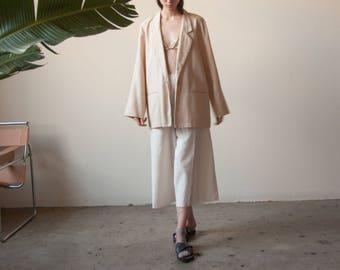 beige oversized woven blazer / oversized boyfriend blazer / 1980s minimalist long jacket / s / m / 2231o / B19