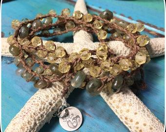 Long Necklace, Crochet Necklace, Crochet Bracelet, Vintage German Glass, Labradorite and Sterling Silver Crochet Bracelet/Necklace