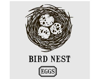 Bird Nest with Eggs Cling Mount Rubber Stamp