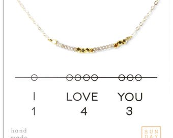 I love you 143, Pearl Seed Bead Necklace.  Valentine's Day Gift