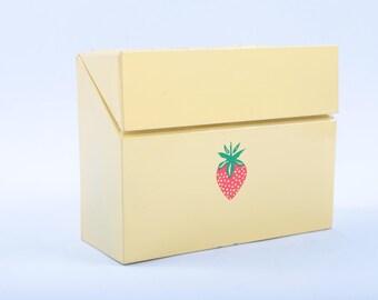 Yellow box, metal, strawberry, letter box, recipe box, vintage, ornamental box, home, decor ~The Pink Room~ 161108
