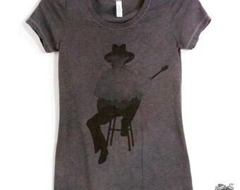 Guitar Player Mountains Silhouette Harmonica Hand Screen Printed Women's T Shirt