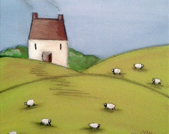Cottage with Sheep Art Print Home Farm