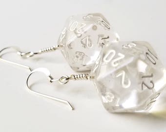 D20 Twenty Sided Dice Earrings - Clear Dice with White Numbers - Geeky Gamer Jewelry