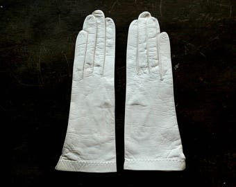Made In France White Leather Gloves Size 6-3/4