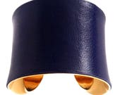 Classic Navy Blue Leather Gold Lined Cuff Bracelet - by UNEARTHED