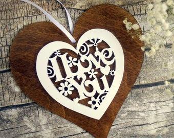 Laser cut wood heart ornament, 'I love you', Valentine heart, Valentine gift, rustic Valentine, 5th wedding anniversary gift