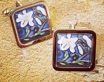 Art Nouveau....... Lily Tile Cufflinks