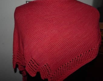 Handknit Lace Edged Shawl