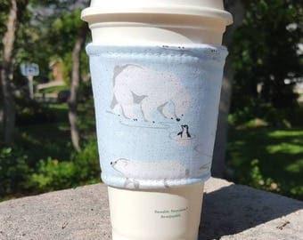 FREE SHIPPING UPGRADE with minimum -  Fabric coffee cozy / cup sleeve / coffee drink sleeve / Polar Bear