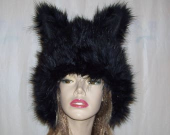 Black Cat Hat Shiny Thick Fur Wolf Ears Animal Creature Kitty Cat Coyote Costume Unisex Geek Birthday Hat Halloween Costume Wig Adult XL