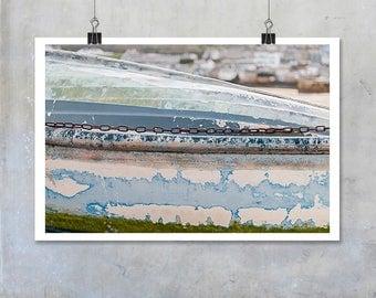 Fishing boat close up abstract St Ives Cornwall seaside pastel colour print nautical marine wall art home decor photo big print poster