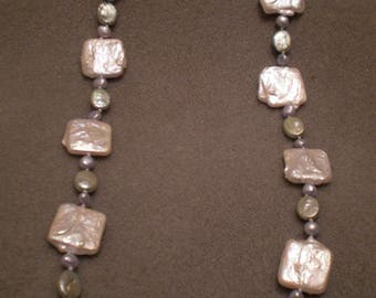 Icy Colored Freshwater Pearls, Hand Knotted, Necklace N24