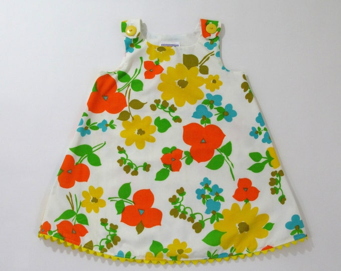 Girls Dress, Baby Dress, Toddler Dress, Vintage Vibrant Floral Girls Dress, Girls Dresses from Vintage Fabric, Size 12 - 18 Months, 3T