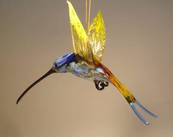 Blown Glass Figurine Bird Hanging Swallow Tail Blue and Yellow HUMMINGBIRD Ornament