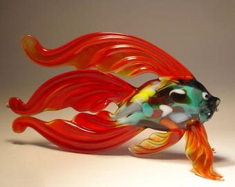 Handmade Blown Glass Art Figurine Dark Red Betta Fish with Colorful Body
