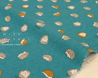 Japanese Fabric - Hedgehogs canvas - teal green - 50cm