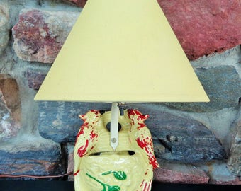 Vintage Yellow Ceramic Wall Lamp Birds Pocket Planter w/Original Shade
