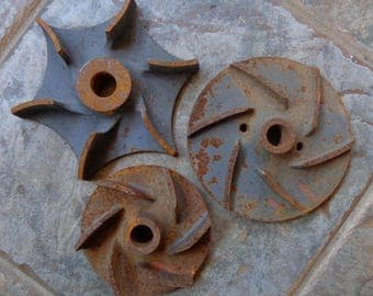 Vintage Lot 3 Industrial Rusty Salvage Cast Iron Impellers Gears Steampunk Repurpose Metal Craft