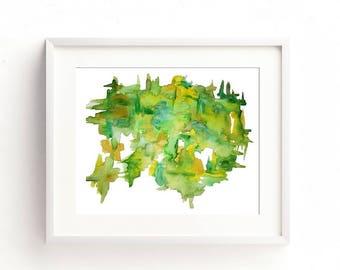 Minimalist Print, Green Watercolor, Contemporary Art, Abstract Watercolor, Modern Abstract Art, Green Abstract Print, Abstract Art Print