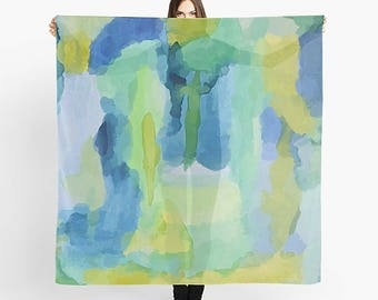 Art Scarf, Square Scarf, Chiffon Scarf, Abstract Watercolor, Abstract Scarf, Watercolor Scarf, Abstract Art Scarf, Green Watercolor