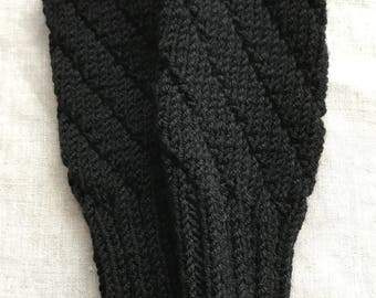 BLACK Darting Diagonals Fingerless Gloves, Merino Wool Knit Mitts / Gauntlets for Men and Women, Unisex, Glovelets, Mitts, Mittens, Texting