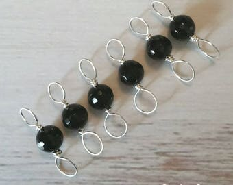 Black Agate, Sterling Silver Double Ended Stitch Markers- Set of 6