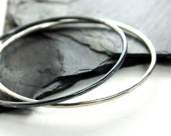 Thick Sterling Silver Bangle Bracelet- Polished, Oxidized Fall Fashion Stacking Bangle
