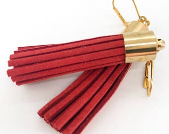 Red Tassel Earrings - Valentines Day Jewelry - long red dangle earrings