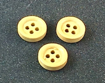 Wood Wooden Small Plain Small  Button Buttons   C32