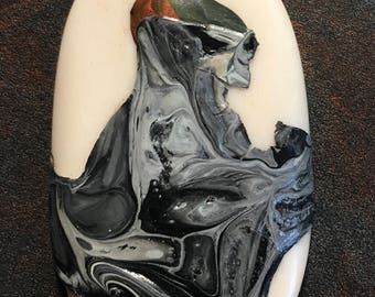 ALIEN WARRIOR Art Mixed Media Acrylic Pour Painting  Focal Bone Bead