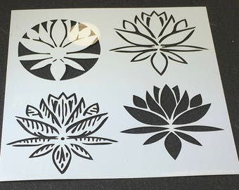LOTUS BLOSSOMS Four 4 Designs  6 x 6 Mixed Media Stencil