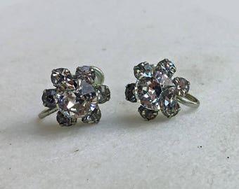 Vintage Rhinestone Earrings, 1950's, Cluster Rhinestones, Silver, Screwback