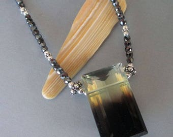 Bi Color Citrine Black Zircons Sterling Silver Necklace