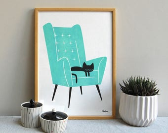 Cat Nap - A3 RISO print