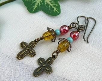Beaded Cross Earrings ~ Cross Charm Earrings ~ Dangling Cross Earrings ~ Cross Dangle Earrings ~ Vintage Look Earrings ~Vintage Look Jewelry