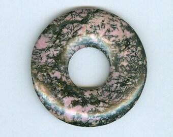 Pink Donut Focal, 50mm Pink and Black Rhodonite Gemstone PI Donut Focal Pendant Large Hole 5132B