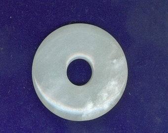 PI DAY SALE Agate Focal donut, 50mm White Agate Gemstone Pi Donut Focal Pendant 1204B