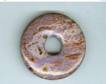 PI DAY SALE Jasper Focal Donut, 45mm Purple Brown Jasper Gemstone Pi Donut Focal Pendant 906T