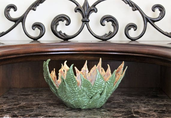 Decorative Bowl - Fern - Handmade Pottery - Wedding - Anniversary - Dinning Room Centerpiece - Candle Holder - Stoneware - Free Shipping
